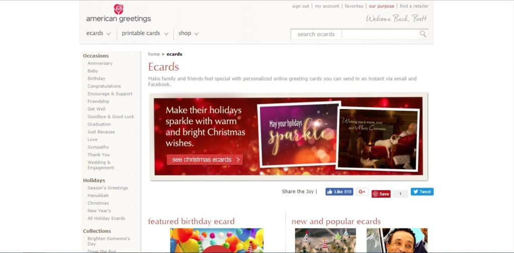 The best ecard sites on the web brookhollow blogbrookhollow blog the ecard landing page for american greetings with holiday inspired images m4hsunfo