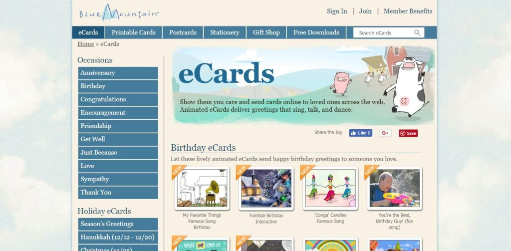 Lively ECards Presented On The Blue Mountain Greeting Card Homepage